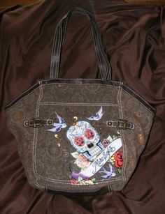 RED Marc Ecko Brown Tote Bag Skull & Rose design, Brown Shopper Bag Skull Art
