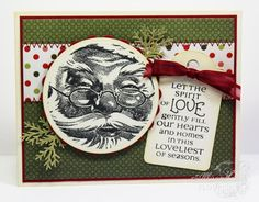 SC464 Santa Tag ~ Dark Green by thecircleguru - Cards and Paper Crafts at Splitcoaststampers ~ Stamps: Flourishes (Christmas Cheers, Santa I Believe) ~ Paper: KaiserCraft ~ Ink: Memento, Ranger