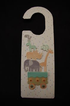 A Nursery Door Hanger created using the Stampin' Up Zoo Babies Stamp Set. Created by Sheena Mairs, NI Stampin' Up Demonstrator.