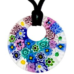 Includes Gift Box /& Certificate 3cm x 1.5cm Lisa Murano Glass Jewellery Murano Glass Pendant with Silver Leaf