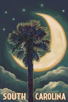 Isle of Palms, South Carolina - Palmetto Moon & Palm - Lantern Press Artwork Giclee Art Print, Gallery Framed, Black Wood), Multi Palmetto Tree, Palmetto Moon, Myrtle Beach Pictures, Beach Photos, Colorado Springs, South Carolina Homes, South Carolina Tattoo, Vintage Films, San Francisco