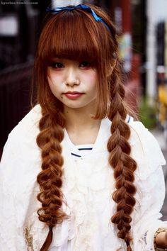 Japanese street style, long braids and blue headband