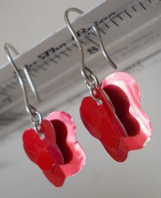 Ethical Upcycled Red Can Butterfly earrings by LilyTheBeige, Earring Crafts, Butterfly Earrings, Sterling Silver Earrings, Upcycle, Delicate, Drop Earrings, Canning, Unique Jewelry, Handmade Gifts