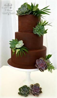 Succulent & Foliage wedding cake by Ceri's Cakes