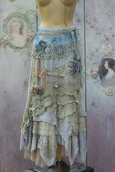 Barocco skirt - -romantic, maxi skirt, M size, shabby chic,cotton layered… Shabby Chic Outfits, Ropa Shabby Chic, Boho Outfits, Vintage Outfits, Shabby Chic Dress, Skirt Outfits, Mode Hippie, Bohemian Mode, Bohemian Style