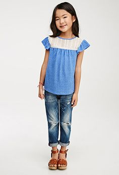 Crochet-Paneled Blouse (Kids) | Forever 21 girls | #f21kids