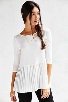 Cooperative Heather Peplum Top - Urban Outfitters rayon span poly