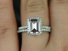 Lisette 14kt White Gold Rectangle Emerald Morganite by RosadosBox