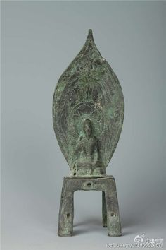 A Buddhist statue as part of building structural components unearthed from Longhua Temple in Shandong Province.