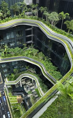 The Parkroyal Hotel on Pickering is a contemporary interpretation of Babylonian hanging gardens, via Southeast Asia.
