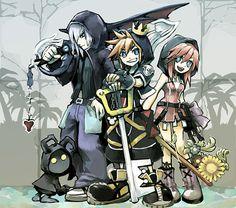 Sora, Kairi & Riku looking pretty awesome. - Sora, Kairi & Riku looking pretty awesome. Kingdom Hearts 3, Kingdom Hearts Characters, Anime Manga, Anime Art, Sora And Kairi, Chibi, Pokemon, Marvel, Kawaii