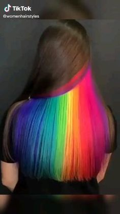 Exotic Hair Color, Pretty Hair Color, Creative Hairstyles, Cool Hairstyles, Underdye Hair, Peekaboo Hair Colors, Hidden Rainbow Hair, Hair Tinsel, Creative Hair Color
