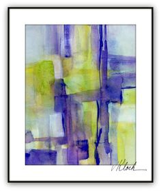 Watercolor gouache abstract painting Titled by VictoriaKloch