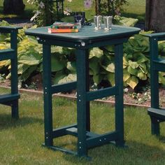 """Seaside Casual Portsmouth Outdoor Bar Table Finish: Slate, Table Size: 30"""""""
