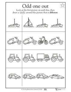 Odd one out worksheet for pre-k - kindergarten lesson planet Printable Preschool Worksheets, Reading Worksheets, Free Printable, Kindergarten Lessons, Kindergarten Worksheets, Kindergarten Reading, Preschool At Home, Preschool Activities, Ford Gt