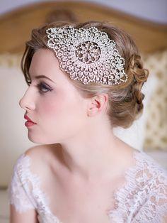 Crystal Bridal Headpiece Art Deco Crystal beaded by GildedShadows, $86.00