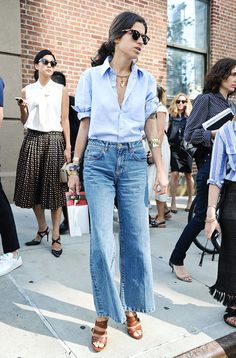 Leandra Medine dressed up denim on denim for Thakoon. | Street Style at New York Fashion Week Spring 2015 | POPSUGAR Style & Trends