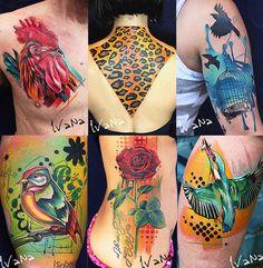 Ivana Belakova - Tattoo Artist  Vintage drawing, modern coloring Cock, Leopard, birds, Rose  Tattos ideas