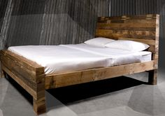 Reclaimed wood bed. Beautiful.