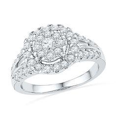 7/8 CT. T.W. Diamond Cluster Frame Ring in 10K White Gold