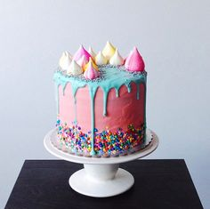 rainbow drip cake with meringue blobs - katherine sabbath on coco cake land