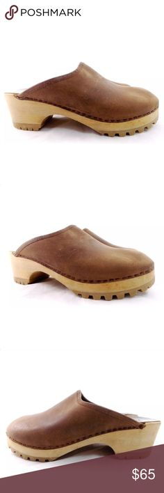 "J Crew Brown Leather Platform Wooden Clogs Mules J Crew Brown Leather Platform Wooden Clogs Mules  So cute!! Very minor signs of normal wear. Women's Size 9 EUR 40 Platform: 1/2"" Heel: 2"".    (Also: If you have high arches you may require a bigger size.) J. Crew Shoes Mules & Clogs"