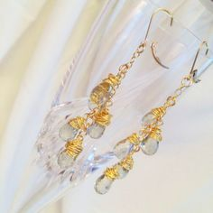 Sparkly, shiny, pretty! Green amethyst and gold wire drop earrings by IrkaDesign