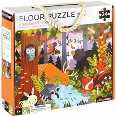 Petit Collage enchanted woodland 24-piece floor puzzle: Made from colorful, thick and sturdy pieces, this is a great puzzle for toddlers who have graduated from the simple wooden puzzles of babyhood. Name the familiar woodland creatures as it comes together and work on vocabulary as well as patience, problem-solving and hand-eye coordination. Forest Animals, Woodland Animals, Wooden Puzzles, Jigsaw Puzzles, Orchard Toys, Floor Puzzle, Puzzles For Toddlers, Barnyard Animals, Collage