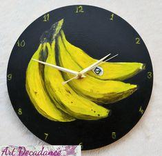 Banana Clock! Hand made, non-ticking art clock, Practical art, Unusual wall clock, fun funky artwork, Black Wooden Circle clock, Unique gift