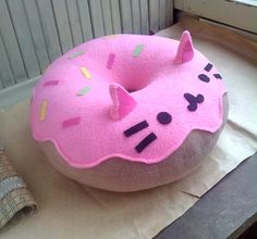 Cat Pillow - Kitty Cat Donut Pillow Plush - Pink - Free Shipping