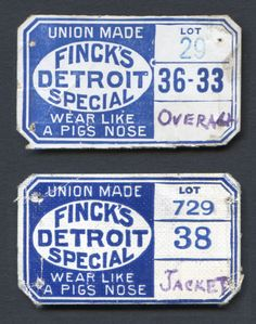 Union-Made: 1930s Finck's Detroit Special Size Tags
