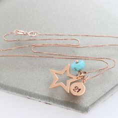 Personalise this gorgeous shiny sterling silver, rose gold or gold star pendant necklace with her initial and turquoise birthstone charms to create a unique keepsake gift for her. Birthstone Charms, Birthstone Necklace, Star Necklace, Pendant Necklace, Turquoise Birthstone, Turquoise Jewellery, December Birthday, Star Pendant, Birthstones