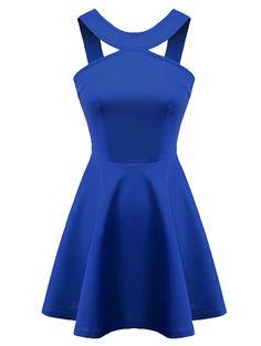 Halter neckline solid pretty A-line dress MC-415010710