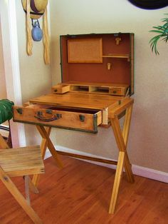 Could paint it to look like it is Harry Potter's Hogwarts trunk! Upcycled & Repurposed Stuff: Extreme Upcycle: The Suitcase Desk