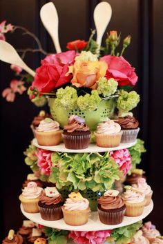 Cupcake tower for bridal shower or a baking themed birthday! Retro Bridal Showers, Bridal Shower Party, Kitchen Shower, Cupcake Display, Couple Shower, Kitchen Themes, Shower Centerpieces, Catering Events, Shower Ideas