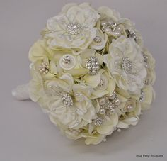 Magnolia Bling Jeweled Flower and Brooch Bouquet:) #wedding #bouquet