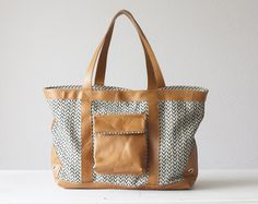 Dione bag - Cotton and  Brown leather de Handmade Bags, makeup bags, wallets and clutches  by Milloo sur DaWanda.com