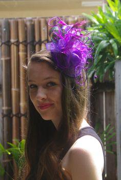 OOAK fascinator Hat purple flower wire  by TwistedInTheTropics, $45.00