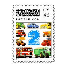 Big Trucks 2nd Birthday Stamp
