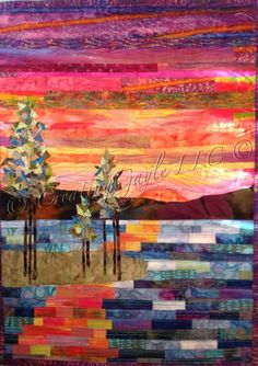 Radiant Sunset Over Mountains and Water Fuel My Soul Abstract Art Quilt by CreatingGayleLLC on Etsy https://www.etsy.com/listing/186408222/radiant-sunset-over-mountains-and-water