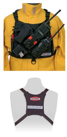 Firefighting professionals shop for helmets, flashlights, boots, badges and shields at TheFireStore.com - True North: Dual Radio Chest Harness, Universal, NFPA