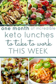 a whole month of low carb keto friendly lunch ideas. simple recipes for busy people. unboring lunch ideas you won't get bored with. keto diet keto lunches ketogenic what is keto keto lunch ideas meal prep make ahead meals Keto Recipes: Keto Lunch Ideas, Lunch Recipes, Diet Recipes, Diet Ideas, Lunch Ideas For Diabetics, Simple Lunch Ideas, Health Lunch Ideas, Lunch Ideas For Work, Cheap Lunch Ideas