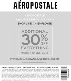 Pinned March 19th: 30% off everything at #Aeropostale or online via promo code FF15 #coupon via The #Coupons App