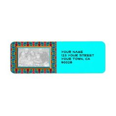 Add a photo Personalized Address Labels Bright Turquoise Design #zazzle #labels #personalize