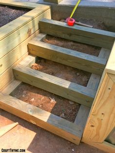 How to Make Timber and Pea Gravel Stairs • The Reaganskopp Homestead Sloped Backyard, Sloped Garden, Backyard Patio, Backyard Landscaping, Garden Beds, Outdoor Wood Steps, Landscape Stairs, Back Garden Design, Landscaping Retaining Walls
