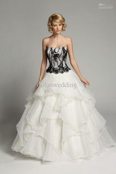 Black White Wedding Dresses Organza Pictures Photos Images Christmas