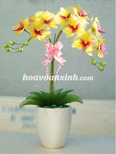 Hoa voan lan hồ điệp vàng 038-2, hoa voan xinh