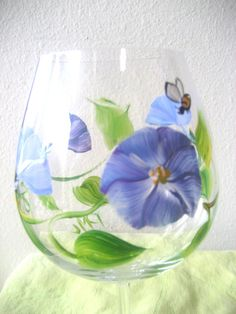 handpainted wine glass with blue flowermorning by TivoliGardens