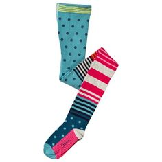 9ce67d4bec Catimini Pink and Blue Stripe and Spot Tights