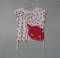 """Paper Wings Red """"Cats & Stripes"""" Drawstring Tee"""